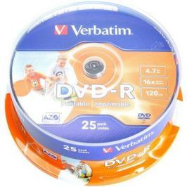 Verbatim DVD-R 16x, Printable 25ks cakebox Printable