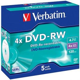 VERBATIM DVD-RW SERL 4.7GB, 4x, jewel case 5 ks