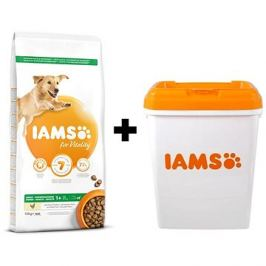 IAMS Dog Adult Large Chicken 12 kg + IAMS Dog nádoba na krmivo 15 kg